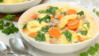 Creamy Tortellini Soup | Quick + Easy Family Dinner Recipe by The Domestic Geek