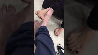 Sexy indian feet in salwar kameez with black nail polish footsie with cameraman i think he liked it