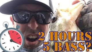 2 Hour BASS Limit Challenge? IKE Nasty Weather Fishing LIVE!