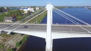 Аэросъемка Дубна с квадрокоптера. Мост в г. Кимры.