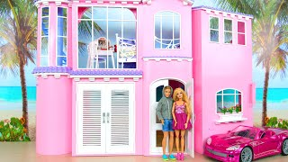 Pink House Night and Morning of Ken & Barbie صباح baju baru Manhã Nouvelle robe Morgen & Nacht