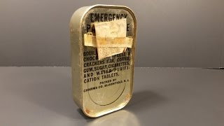 1944 WW2 AAF Emergency Parachute Ration MRE Review Survival K Pilot War Candy Cigarette Oldest Food