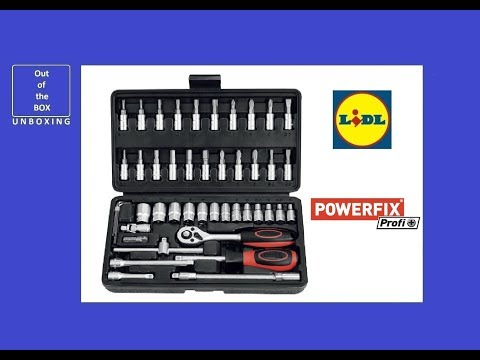 Powerfix Profi + 46 Piece Set Ratchet & Bit Set UNBOXING (Lidl chrome vanadium steel and S2 steel)