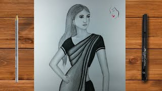 How To Draw A Girl Wearing Indian Saree Beautiful Dress | Pencil Sketch Drawing | The Crazy Sketcher
