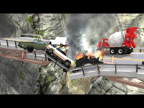 Collapsing Bridge Pileup Crashes #2 - BeamNG Drive