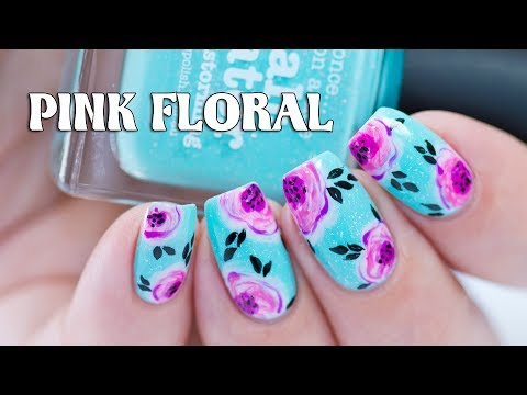 PINK FLORAL NAIL ART with Picture Polish Salt Water