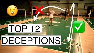 TOP 12 DECEPTIVE TRICK SHOTS - BadmintonExercises 🏸