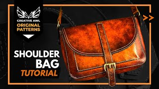 HOW TO MAKE A LEATHER SHOULDER BAG. Making Leather Messenger Bag With PATTERN
