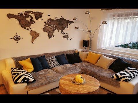 - Mapa Świata na ścianę 3D z granicami państw palisander - - hqdefault