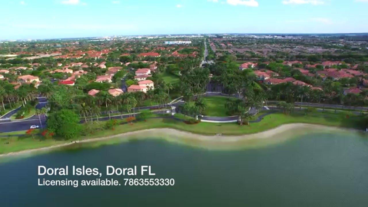 Aerial video of Doral Isles Miami FL