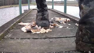army boots crush smoked fish
