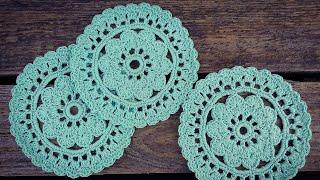 How To Crochet Easy Flower Coaster/Doily