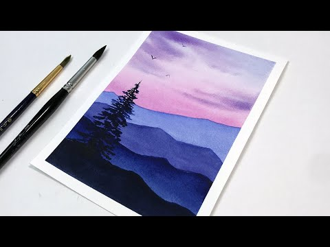 watercolor painting tutorial purple sunset for beginners by ahmad art