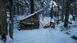 Sub-Zero 3 Day Solo Bushcraft Camp in the Adirondack Wilderness During a Winter Storm, ASMR