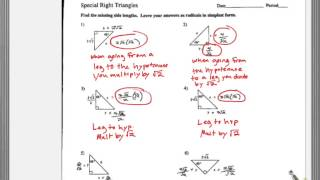 Special Right Triangles Multi Step Key P1