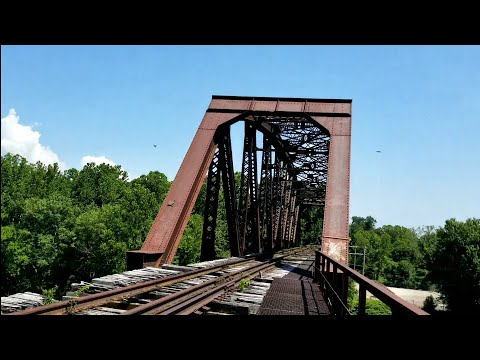 Crossing A Train Trestle Over The Youghioheny River In PA