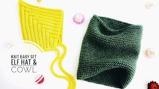 Knit BABY SET: Elf Hat & Cowl for Beginners