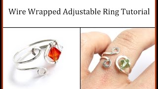 Easy Jewelry Tutorial : Wire Wrapped Adjustable Ring With Crystals