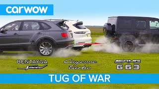 AMG G63 vs Bentley Bentayga Speed & Porsche Cayenne Turbo - TUG OF WAR!