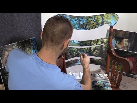 DIY furniture painting – old rocking chair art landscape