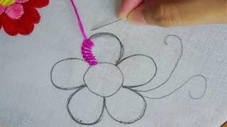Amazing Hand Embroidery Easy Flower Design,buttonhole Stitch Variation