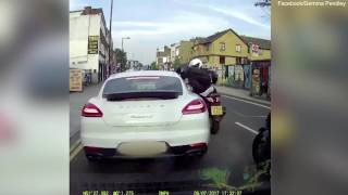 Heart stopping moment bikers rob driver at knife point
