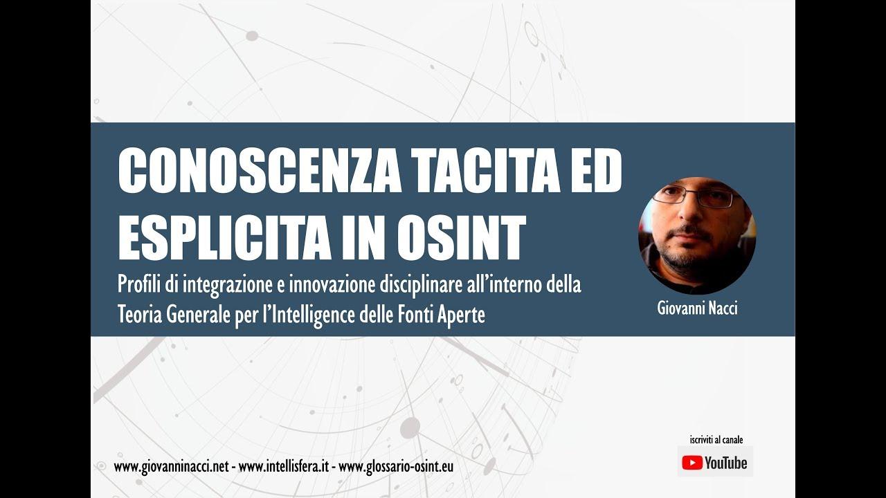 Conoscenza tacita ed esplicita in OSINT