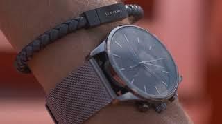 Sem Lewis Bakerloo Baker Street leren armband zwart/grijs