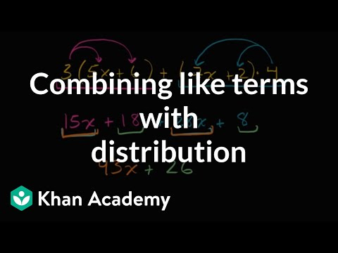 Combining Like Terms With Distribution (video) Khan Academy