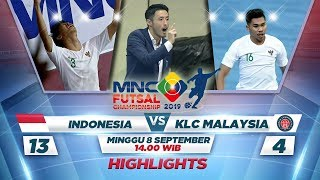 HEBAT BANGET! Indonesia VS KLC Malaysia (FT: 13-4) - MNC Futsal Championship 2019  Pertandingan panas antara Indonesia VS KLC Malaysia berlangsung sengit, gol demi gol terjadi hingga akhirnyanya Indonesia bisa membabat habis KLC Malaysia dengan skor 14-3.  ================================= Subscribe MNCTV Official Youtube Channel http://bit.ly/24Ev2fo  Follow our social media - Twitter  http://bit.ly/2fOu5Ps - Facebook  http://bit.ly/2edzdN2 - Instagram  http://bit.ly/2fOBtdu  Check Our Official Website http://mnctv.com/ http://mnctvmobile.com/m/ =================================