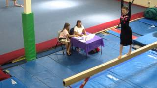 Apostolic Pentecostal Gymnast In A Skirt Doing Beam Routine.