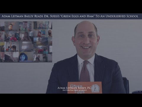 "Adam Leitman Bailey Reads Dr. Seuss's ""Green Eggs and Ham"" to students of James Madison Elementary on Read Across America Day testimonial video thumbnail"