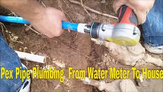 Pex pipe plumbing  from water meter to house10 of 10