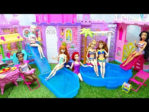 7 Disney Princess Pool Party and BBQ Lunch Barbie Dress up Swimsuits Costumes Water Park