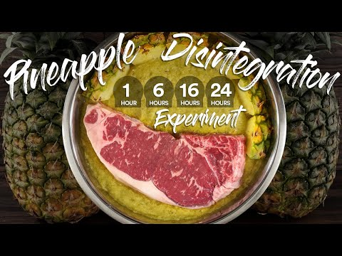 Will PINEAPPLE Completely DISINTEGRATE a STEAK? | Guga Foods