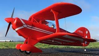 E-flite Pitts S-1S RC Biplane Maiden Flight On 4S Scorpion 1800 Lipo