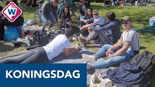 Drukte in Leids park Het Plantsoen tijdens Koningsdag - OMROEP WEST