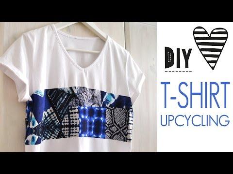 DIY T-Shirt Nähen für Anfänger Upcycling Oberteil Crop Top einfach selbst machen