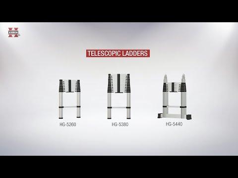 Herzberg teleskopisk stege 2,6 eller 3,8 meter