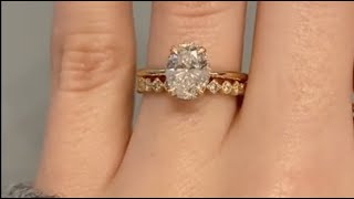 Yellow Gold 1ct Oval Diamond Engagement Ring With Vintage Inspired Wedding Band - Isabella & Glenda