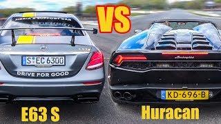 2017 Mercedes E63 S AMG vs Lamborghini Huracan Spyder - DRAG RACE!