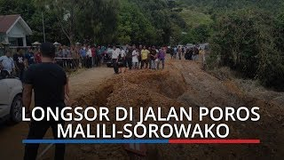 Detik-detik Jalan Poros Malili-Sorowako Longsor