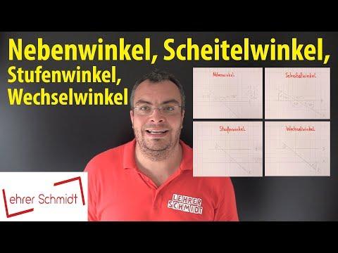 Cover: Winkelpaare: Nebenwinkel, Scheitelwinkel, Stufenwinkel, Wechselwinkel   Lehrerschmidt - YouTube