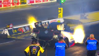 FASTEST ACCELERATING MACHINES IN THE WORLD 11,000 HORSEPOWER TOP FUEL FUNNY CARS BURNING NITRO