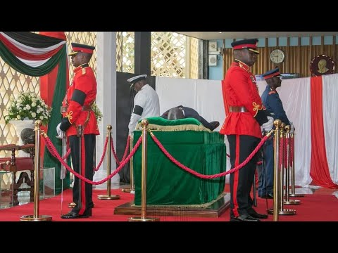 Moi's 'fimbo', Bibles and chair placed next to his body at Parliament buildings