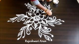 simple rangoli designs with free hands || simple kolam rangoli without dots || easy muggulu designs