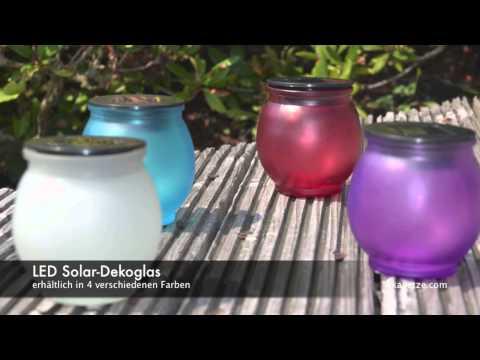LED Solar-Dekoglas / 4 Farben / Solarleuchten für Aussen