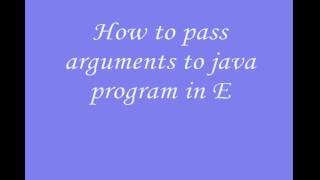 Pass arguments to java program using eclipse