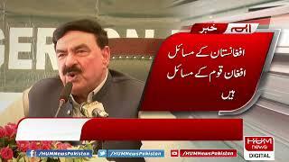 Federal Interior Minister Sheikh Rashid talks to media
