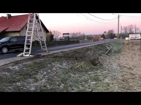 Wideo1: Złamany słup energetyczny w Dębowej Łęce